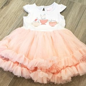 Pretty pink & white Easter bunny dress 3-6mo